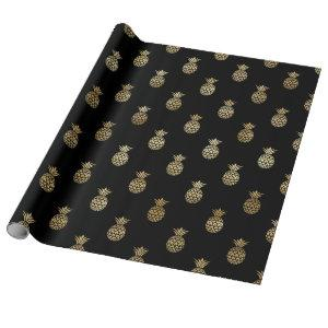 Elegant Black Gold Tropical Pineapples Birthday Wrapping Paper
