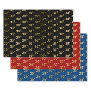 Elegant Black, Red, Blue, Faux Gold 30th Event # Wrapping Paper Sheets