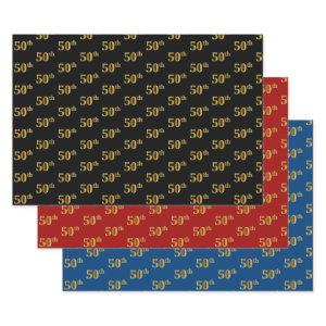 Elegant Black, Red, Blue, Faux Gold 50th Event # Wrapping Paper Sheets