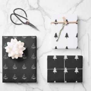 Elegant Black White Christmas Tree Pattern Gift Wrapping Paper Sheets