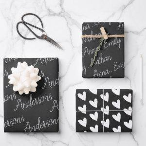 Elegant Black White Family Name Heart Christmas Wrapping Paper Sheets