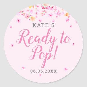 Elegant Blossom Ready to Pop Pink Baby Shower Classic Round Sticker