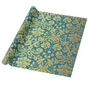 Elegant Blue and Gold Royal Damask Pattern Wrapping Paper