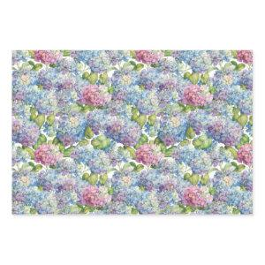 Elegant Blue Pink Hydrangea Floral Pattern Wrapping Paper Sheets