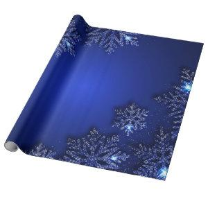Elegant Blue Snowflake Holiday Wrapping Paper