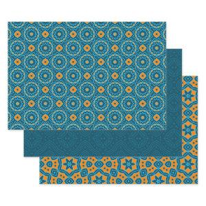 Elegant Blue & Yellow Ethnic Geometric Patterns Wrapping Paper Sheets