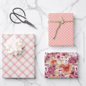 Elegant Blush Rose Coral Pink Watercolor Floral Wrapping Paper Sheets