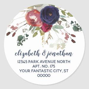 Elegant Burgundy Navy Rose Gold Return Address Classic Round Sticker