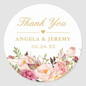 Elegant Chic Blush Pink Floral Wedding Thank You Classic Round Sticker