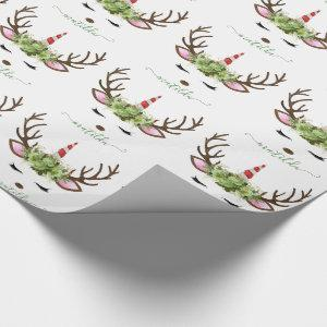 Elegant Christmas rose gold glitter unicorn deer Wrapping Paper