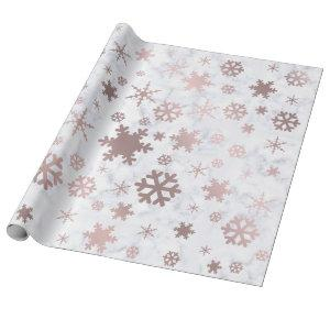 Elegant Christmas Rose Gold Snowflakes & Marble Wrapping Paper
