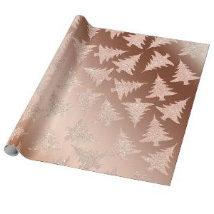 Elegant Copper Gold Glitter Christmas Tree Pattern Wrapping Paper