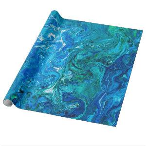 Elegant Crazy Lace Agate 2 - Blue Aqua Wrapping Paper