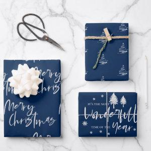 Elegant Electric Blue Merry Christmas Quote Gift Wrapping Paper Sheets