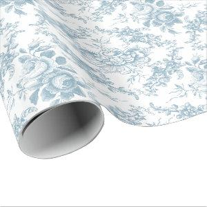 Elegant Engraved Blue and White Floral Toile