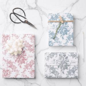 Elegant Engraved Pastel Floral Toile Wrapping Paper Sheets