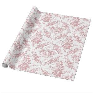 Elegant Engraved Pink and White Floral Toile Wrapping Paper