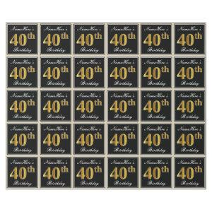 Elegant, Faux Gold 40th Birthday + Custom Name Wrapping Paper