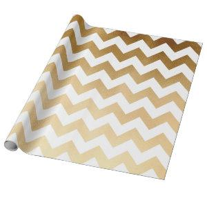 elegant faux gold and white chevron pattern wrapping paper