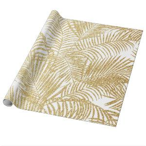 Elegant faux gold glitter tropical palm tree flora wrapping paper