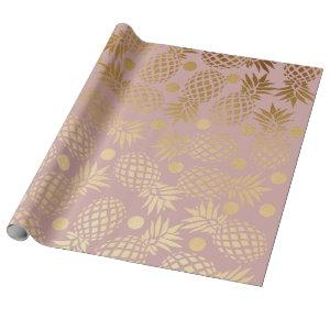 elegant faux gold pineapple pattern polka dots wrapping paper
