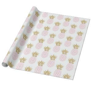 Elegant faux gold tropical pineapple pattern wrapping paper