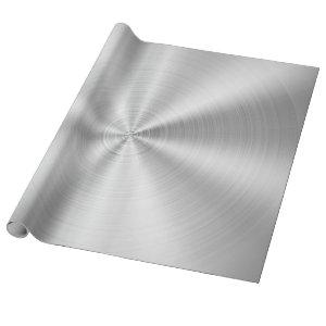 Elegant Faux Metallic Shiny Silver Wrapping Paper