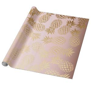 elegant faux rose gold tropical pineapple pattern wrapping paper