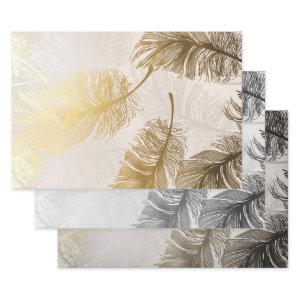 Elegant Feather Pattern Wrapping Paper Sheets