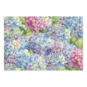 Elegant Floral Blue and Pink Hydrangea Pattern Wrapping Paper Sheets