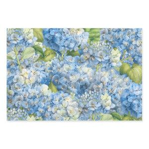 Elegant Floral Blue Hydrangea Pattern Wrapping Paper Sheets