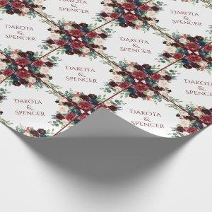 Elegant Floral | Burgundy Marsala Frame Wedding Wrapping Paper