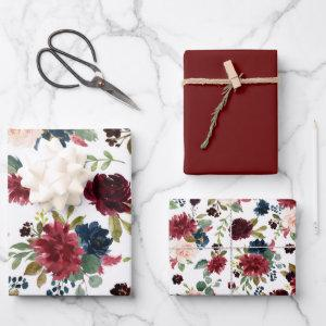 Elegant Floral | Burgundy Marsala Red Blue Bouquet Wrapping Paper Sheets