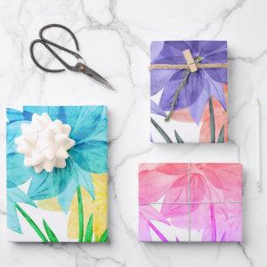 Elegant Floral Flower Theme Blue Pink Purple Wrapping Paper Sheets