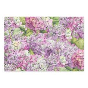Elegant Floral Lavender Pink Hydrangea Pattern Wrapping Paper Sheets