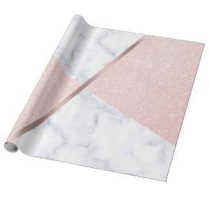 Elegant girly rose gold glitter & white marble wrapping paper