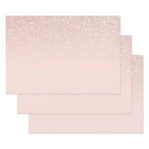 Elegant Girly Rose Gold Pink Glitter Ombre Wrapping Paper Sheets