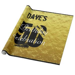 Elegant Gold and Black 50th Any Age Birthday Wrapping Paper