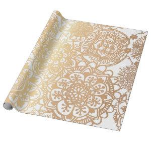 Elegant Gold and White Mandala Pattern Wrapping Paper