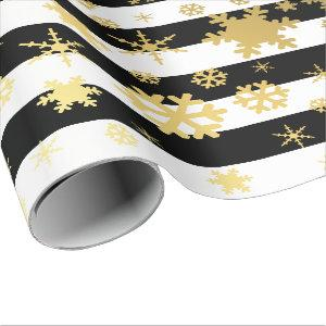 Elegant Gold & Black Christmas Snowflake Pattern Wrapping Paper