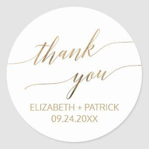 Elegant Gold Calligraphy Thank You Wedding Favor Classic Round Sticker