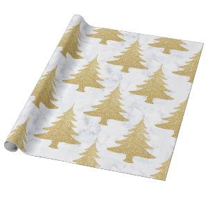 Elegant Gold Glitter & White Marble Christmas Tree Wrapping Paper