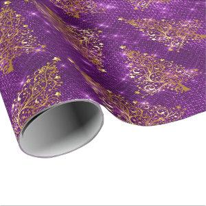 Elegant Gold Purple Glitter Christmas Tree Pattern Wrapping Paper