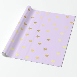 Elegant gold purple Valentine's day heart pattern Wrapping Paper