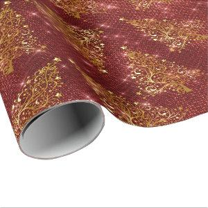 Elegant Gold & Red Glitter Christmas Tree Pattern Wrapping Paper
