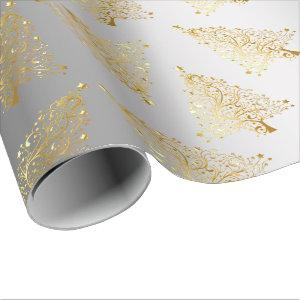 Elegant Gold & Silver Christmas Tree Pattern Wrapping Paper