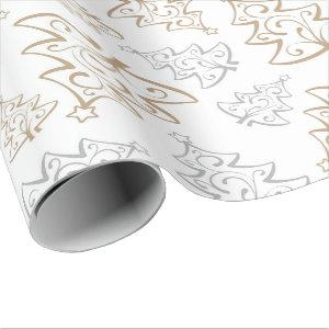 Elegant Gold Silver Christmas Tree Wrapping Paper