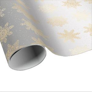 Elegant Gold & Silver Snowflake Christmas Pattern Wrapping Paper