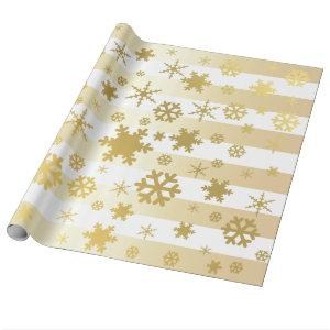 Elegant Gold & White Christmas Snowflake Pattern Wrapping Paper