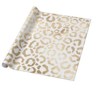 Elegant Gold White Leopard Cheetah Animal Print Wrapping Paper